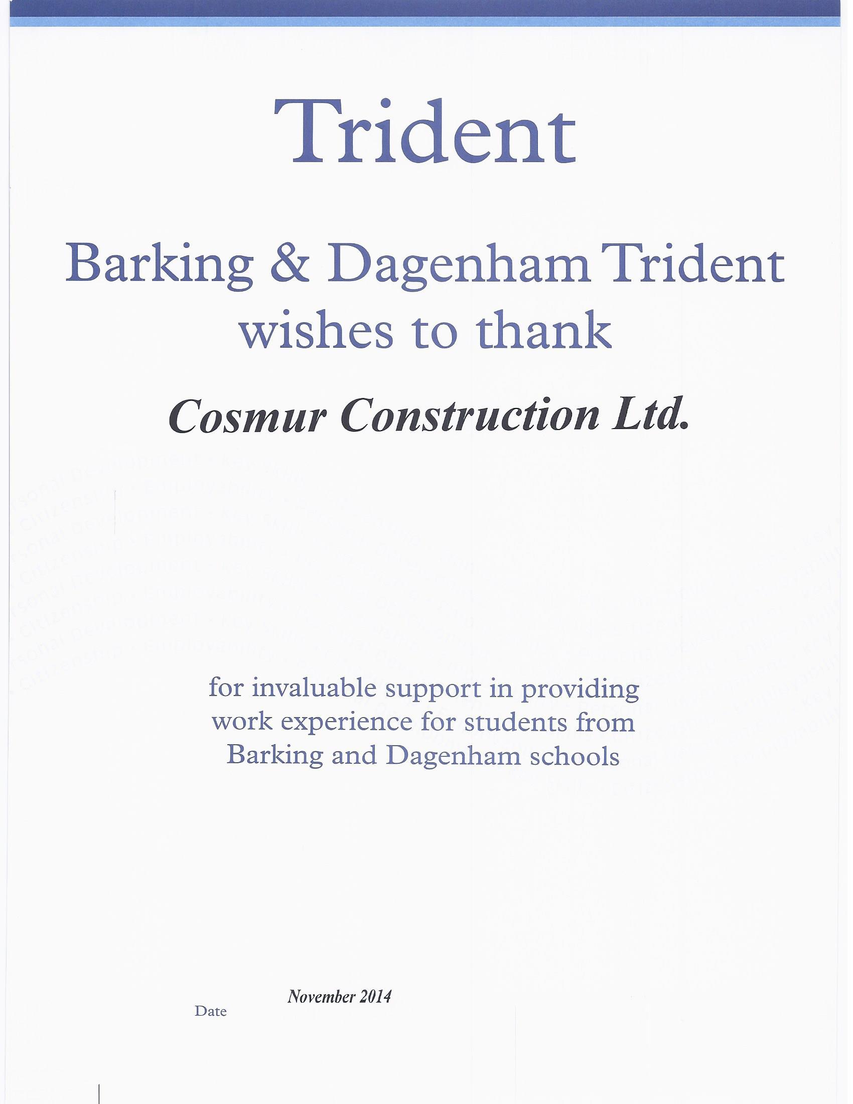 Certificate of appreciation cosmur construction barking dagenham trident cert yelopaper Images